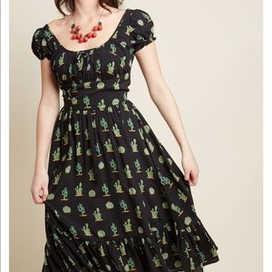 Cactus print midi dress with ruffle hem